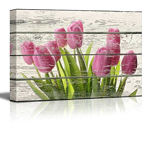 wall26 - Bouquet of Beautiful Pink Tulips Artwork - Rustic Canvas Wall Art Home Decor - 24x36 inches ()