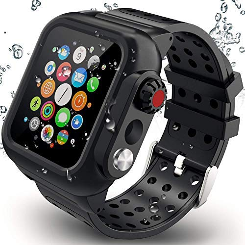Waterproof Case Compatible with Apple Watch Series 4 44mm with Built-in Screen Protector and Silicone Watch Band Black by MixMart