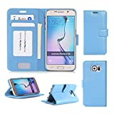 Samsung Galaxy S6 Wallet Case Cover, FYY® [Executive Wallet Kickstand] Premium PU Leather Flip Case Stand Cover with Card Slots and Note Holder for Samsung Galaxy S6 Cyan