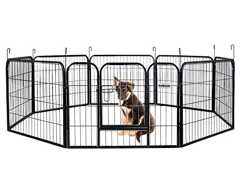 PetDanze Dog Pen Metal Fence Gate Portable Outdoor | Heavy Duty Outside Pet Large Playpen Exercise RV Play Yard | Indoor Puppy Kennel Cage Crate Enclosures | 24' Height 8 Panel