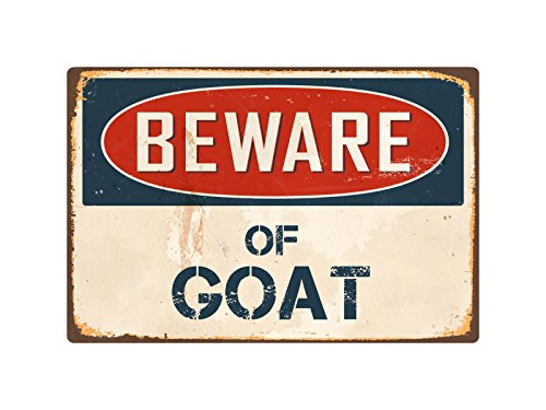 "Sticker Pirate Beware Of Goat 8"" x 12"" Vintage Aluminum Retro Metal Sign VS186"
