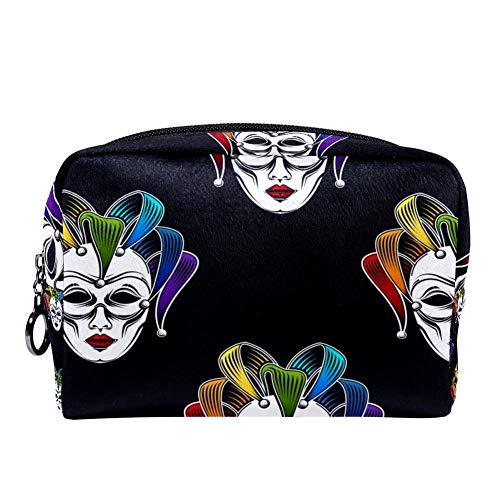 MAPOLO Rainbow Venetian Canrnival Mask Makeup Bag Toiletry Bag for Women Skincare Cosmetic Handy Pouch Zipper Handbag -