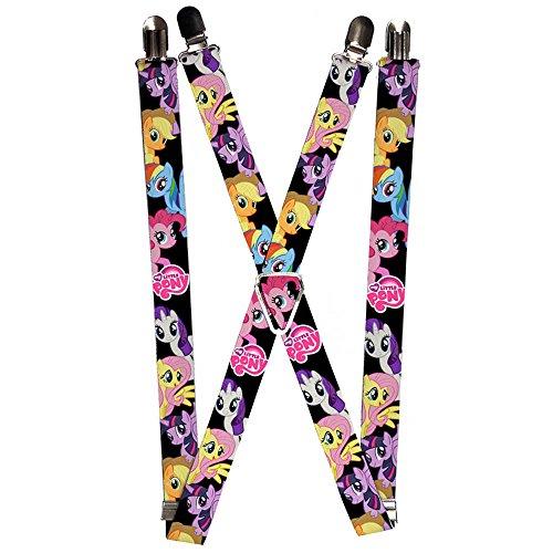 Buckle-Down Suspenders - Ponies Black W/mlp Logo Accessor...