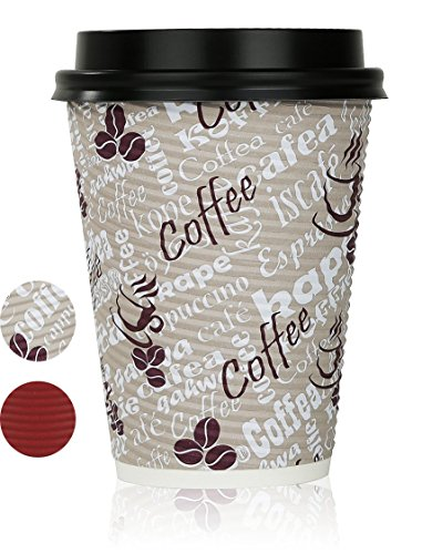 Disposable Hot Coffee Insulated Cups By Golden Spoon – 50 Pack Set Complete With Lids – Stylish Contemporary Ripple Design - Perfect For Take Away Coffee Shops And Bars (12 oz, Coffee Design)