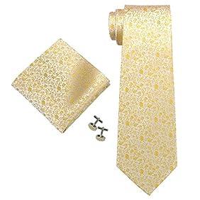 Landisun SILK Various Floral Pattern Mens SILK Tie Set: Tie+Hanky+Cufflinks