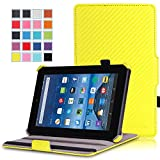 MoKo Case for Fire 7 2015 - Slim-Fit Multi-angle Folio Cover for Amazon Fire Tablet (7 inch Display - 5th Generation, 2015 Release Only), Carbon Fiber YELLOW