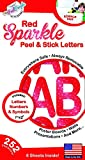 252 PC Peel and Stick Letters & Numbers, 1' and 2' Red Sparkle, by The Peel People