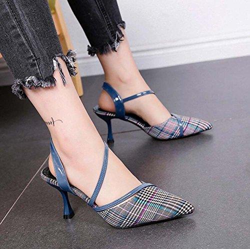 Coreana Moda Scarpe con Sandalo Basso Estate Singolo Donna Aiuto Nuova cavit Fine Sandalo da Punta wIr1XqnrF