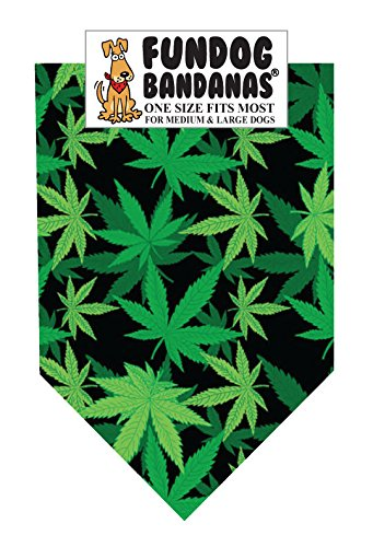 Leaves Dog Bandana - Marijuana Leaf Dog Bandana (One Size Fits Most for Medium to Large Dogs)