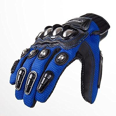 MADBIKE Stainless Steel Motorcycle Gloves Motorcross Motorbike Protective Gloves (XLarge, Blue)
