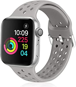 XFYELE Compatible with Apple Watch Band 38mm 40mm, Soft Breathable Sport Silicone Replacement Strap Compatible for iWatch Series 6, 5, 4, 3, 2, 1 for Women and Men (Light Grey, 38mm/40mm)