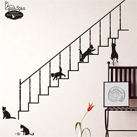 pegatinas decorativas pared Dibujos animados gato negro subir las escaleras decoración del hogar sala de estar dormitorio diy arte mural calcomanías animales para ...