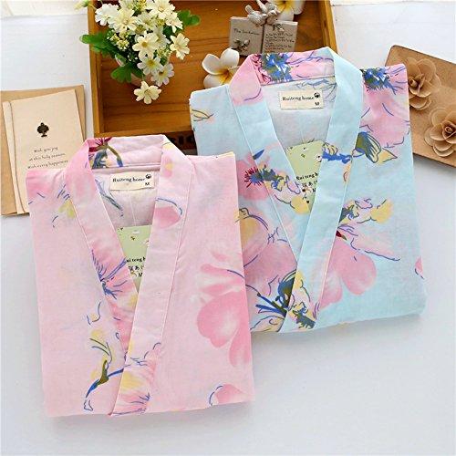 Abbigliamento Donna Kimono Abito Accappatoio Yukata Pigiama Fiore Blu