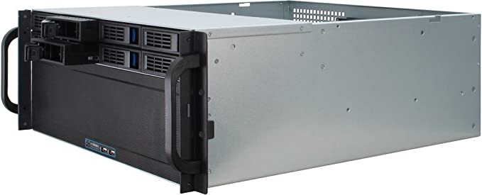 Inter-Tech 4U-4408 Estante Negro, Plata - Caja de Ordenador (Estante, Servidor, Acero, Negro, Plata, ATX,EATX,EEB,Mini-ITX,uATX, 4U): Amazon.es: Informática