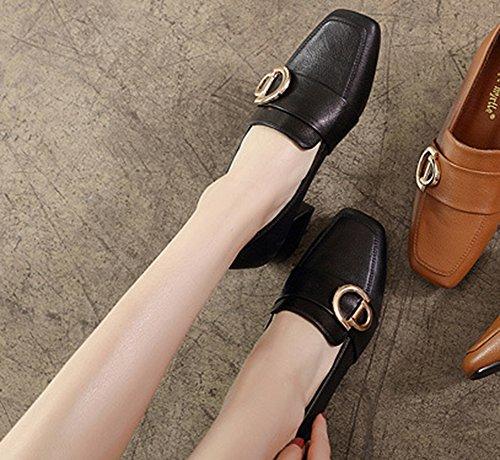 Carré Décor Mocassins Mode Noir Basse Femme Office Aisun Métallique Bout 86tIxOwq
