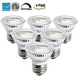 Drart Led Bulb Spotlights Cob E26 Base 120V Halogen Lights Equivalent, PAR16 Led Light with Glass Cover, Daylight White 5000K (6 Pack)