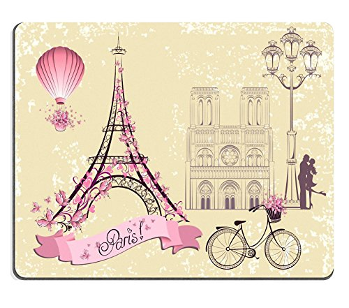 MSD Mousepad Paris symbols and landmarks Romantic postcard from Paris Vector set Image 30171225 Customized Tablemats Stain Resistance Collector Kit Kitchen Table Top DeskDrink Customized