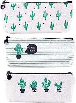 Bolso para lápices, 3 paquetes de lápices de cactus grandes con cremallera, estuche para lápices de oficina, color verde, para niños, niñas, adultos, adolescentes: Amazon.es: Oficina y papelería