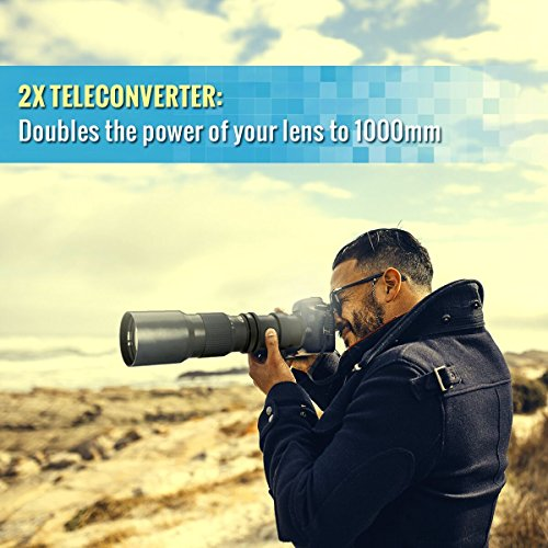 High-Power 500mm/1000mm f/8 Manual Telephoto Lens for Canon EOS Rebel T3, T3i, T4i, T5, T5i, T6, T7 T6i, T6s, T7i, SL1, SL2, EOS 60D, 70D, 77D, 80D, 5D III, 5D IV, EOS 6D, 7D, 7D II Digital SLR Camera