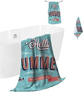 prunushome Bath Towels Hello Luxurious Bath Sheet Vintage Summer Aircraft for Bathroom Spa Gym Sports 3 Piece Towels Set (Bath Towels,Hand Towels,Washcloths)