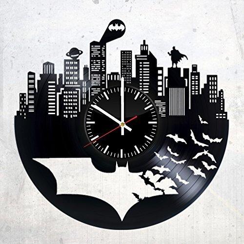 Batman Vinyl Records Wall Clock - Superhero Original Present For Movie's Fans - Wall Art Room Decor Handmade Decoration Party Supplies Theme Birthday Gift - Vintage And Modern -
