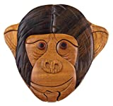 Hickoryville Handmade Carved Monkey Face Intarsia Wood Puzzle Box Bundled With Instructions