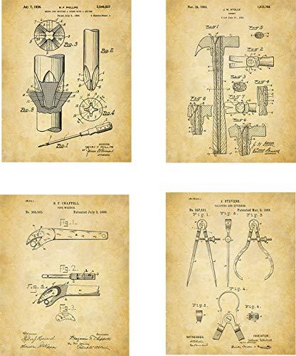 Tools Patent Wall Art Prints - set of Four (8x10) Unframed - wall art decor for handyman