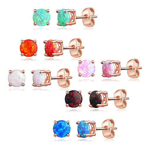Luckeyui 6 Pairs Rose Gold Plated Synthetic Opal 6mm Round Stud Earrings Set for Women,White/Blue/Black ()