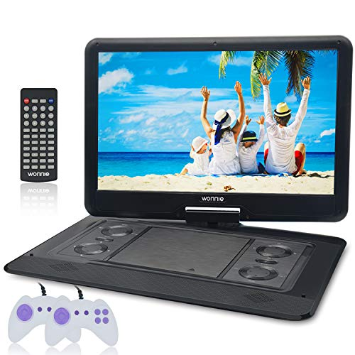 WONNIE 17.9'' Large Portable DVD/CD Player with 15.6 Swivel Screen, 1366x768 HD LCD TFT, GAMES/USB/SD Card Readers, Built-in Double Rechargeable Battery, Stereo Sound, Regions Free, AV Out & In