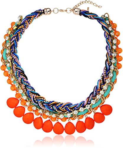 Orange Tone Morrocan Collar Braided Statement Chain Necklace, 20