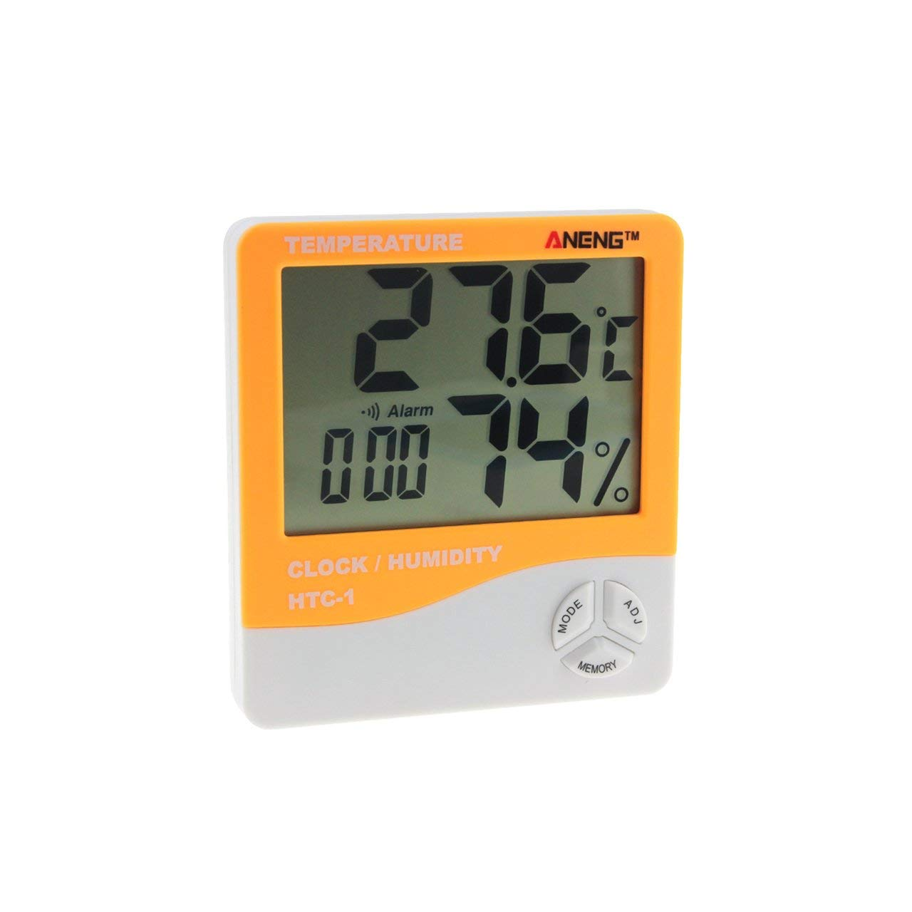 Jasnyfall HTC-1 Indoor LCD Electronic Digital Temperature Humidity Meter Room Thermometer Hygrometer Alarm Clock Weather Station Black
