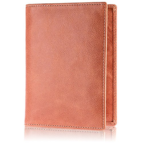 Luxury Leather Passport Wallet RFID Blocking Case - Travel Passport Cover - Premium Passport & Card Holder for Men and Women with Gift Box (Vintage Brown)