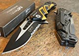 New MTech BALLISTIC Assisted Opening Rescue EMT BLACK Glass Breaker RESCUE Eco'Gift LIMITED EDITION Knife with Sharp Blade Great For Fun and Practical Use!