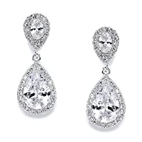 Mariell Cubic Zirconia Teardrop Wedding Earrings for Brides - Genuine Platinum Plated Bridal Jewelry