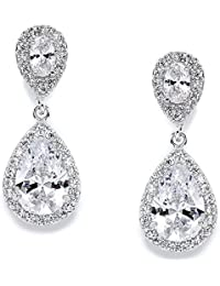 CZ Teardrop Clip On Wedding Earrings - Dainty Pear-Shaped Cubic Zirconia Dangle Clip Ons