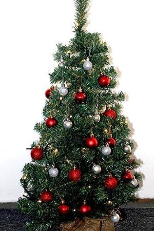 Weihnachtsbaum Rot Silber.Weihnachtsbaum 90cm Geschmückter Weihnachtsbaum Silber Rot Weihnachtskugeln Rot