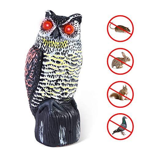 Ohuhu Solar Powered Horned Owl Decoy, Upgraded 2019 New Version - Garden Scarecrow Bird Repellent with Flashing Eyes & 3 Different Scary Sounds, Natural Enemy Pest Deterrent Scarecrow