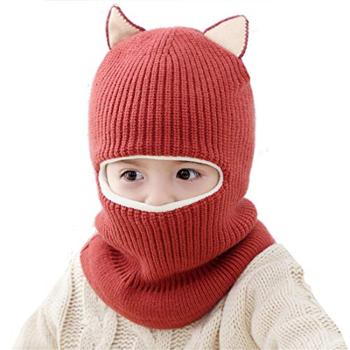 Bonvince Kids Winter Hat, Baby Knit Hat, Warm for Fall Winter, Thick Scarf Earflap Hood Scarves Skull Caps (Dark Red)