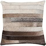 """22"""" Cocoa Brown and Ash Gray Rustic Striped Decorative Throw Pillow-Down Filler"""