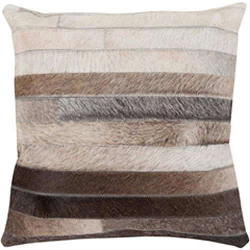 "22"" Cocoa Brown and Ash Gray Rustic Striped Decorative Throw Pillow-Down Filler by Diva At Home"