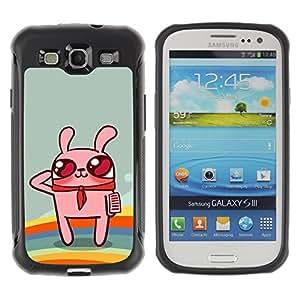 Pulsar Defender Series Tpu silicona Carcasa Funda Case para SAMSUNG Galaxy S3 III / i9300 / i747 , Cute Rainbow Bunny Rabbit