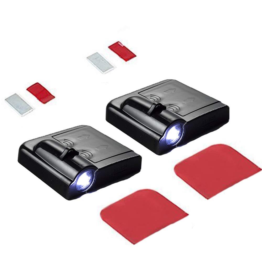 MIVISO 2 pi/èces projecteur de porte de voiture sans fil bienvenue lumi/ères LED auto embl/èmes porte lumi/ère de courtoisie