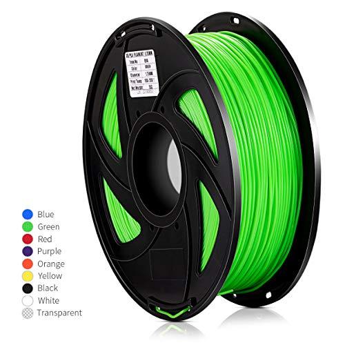 Filamento PLA de impresora 3D Huyonce, precisión dimensional +/- 0.03 mm, carrete de 1 kg, 1.75 mm, verde