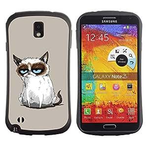 Suave TPU GEL Carcasa Funda Silicona Blando Estuche Caso de protección (para) Samsung Note 3 / CECELL Phone case / / Siamese Cat Drawing Angry Blue Eyes Moody /