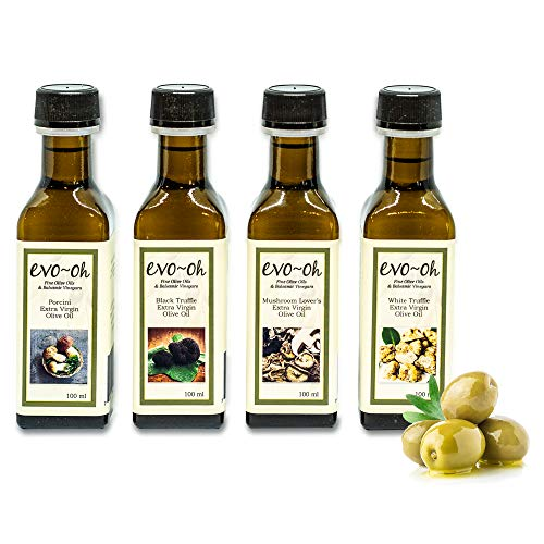 Gourmet Olive Oil Gift Set | Certified Extra Virgin Olive Oil | Mushroom Flavor 4-Pack 100ml Each Bottle | 100% Natural Flavors | Porcini, Black Truffle, Mushroom Lover's Blend, and White Truffle