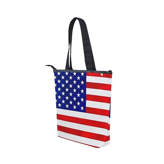 COOSUN Bandera del mundo de los Estados Unidos bolsa de lona con cremallera bolso de hombro bolso bolso de mano bolso para la compra, la escuela, ...