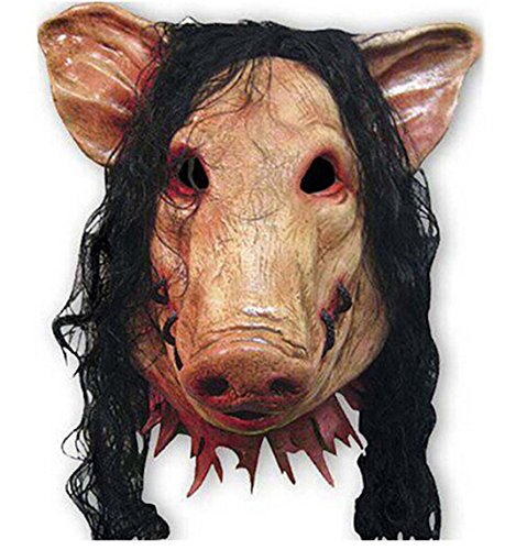 YiYi Operation Halloween Latex Cosplay Pig Head Mask Hair Horrible Animal Saw Masquerade (Halloween Costumes Saw Pig)