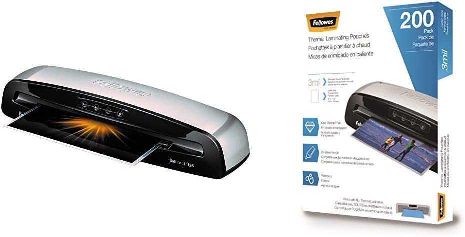 Fellowes 5736601 Laminator Saturn3i 125, 12.5 inch, Rapid 1 Minute Warm-up Laminating Machine, with Laminating Pouches Kit & Thermal Laminating Pouches, 3 mil, 200 Pack - 5743401