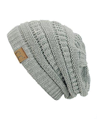 Trendy Warm Chunky Soft Stretch Cable Knit Beanie Skully, Nat Gray