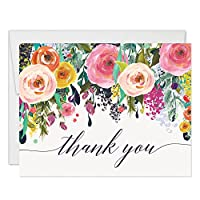 Colorful Flowers Thank You Cards with Envelopes ( Pack of 50 ) Folded Blank Vibrant Thank You Notes Any Occasion Birthday Anniversary Retirement Gift Thanks Gracias Excellent Value Notecards VT0040